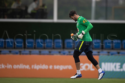 11th November 2020; Granja Comary, Teresopolis, Rio de Janeiro, Brazil; Qatar 2022 qualifiers; Alisson of Brazil during training session in Granja Comary