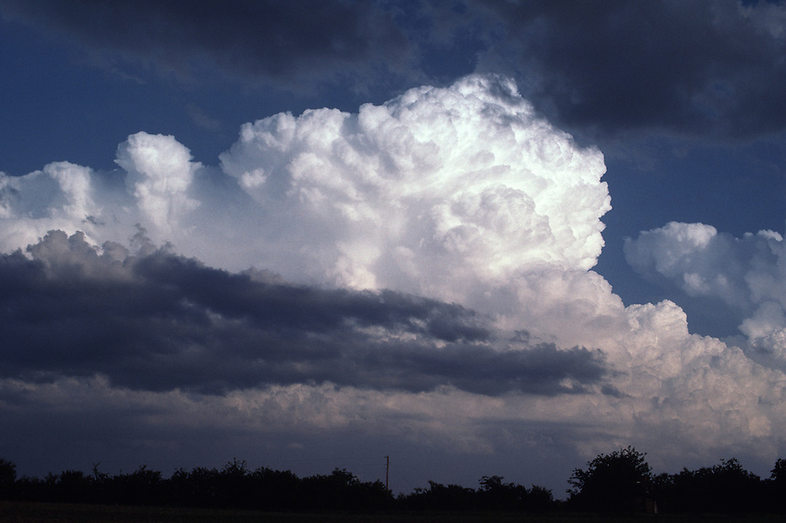 The cauliflower appearance of a cumulonimbus cloud from a severe thunderstorm is illuminated a bright white between dark strato-cumulus northeast of Dallas Texas during the spring.