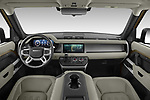 Stock photo of straight dashboard view of 2021 Land Rover Defender First-Edition 5 Door SUV Dashboard