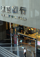A branch of the Bank of East Asia - BEA - in Hong Kong. BEA is the largest independent local bank in Hong Kong. BEA is listed on the Stock Exchange of Hong Kong and is one of the constituent stocks of the Hang Seng Index.....................