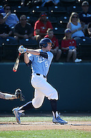 Brian Miller (5) of the North Carolina Tar Heels bats against the UCLA Bruins at Jackie Robinson Stadium on February 20, 2016 in Los Angeles, California. UCLA defeated North Carolina, 6-5. (Larry Goren/Four Seam Images)