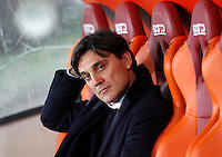 Calcio, Serie A: Roma vs Sampdoria. Roma, stadio Olimpico, 7 febbraio 2016.<br /> Sampdoria's coach Vincenzo Montella waits for the start of the Italian Serie A football match between Roma and Sampdoria at Rome's Olympic stadium, 7 January 2016.<br /> UPDATE IMAGES PRESS/Riccardo De Luca