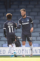 Terrell Egbri, Southend United congratulates goalscorer Brandon Goodship, Southend United during Southend United vs Exeter City, Sky Bet EFL League 2 Football at Roots Hall on 10th October 2020