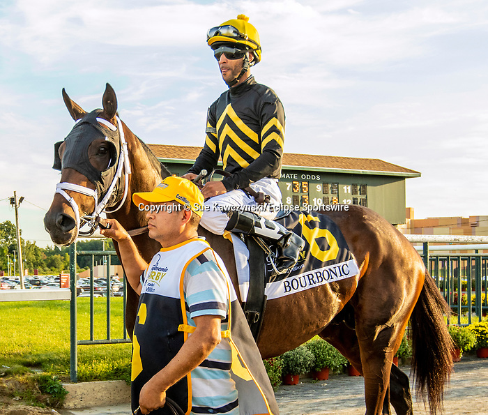 SEPT 25, 2021: Bourbonic post parade in the Gr.1 Pennsylvania Derby, for 3-year olds, going 1 1/8 mile, at Parx Racing, Bensalem, PA. Sue Kawczynski/Eclipse Sportswire/CSM