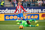 Antoine Griezmann of Atletico de Madrid kicks the ball past Goalkeeper Diego Alves Carreira of Valencia CF during the match Atletico de Madrid vs Valencia CF, a La Liga match at the Estadio Vicente Calderon on 05 March 2017 in Madrid, Spain. Photo by Diego Gonzalez Souto / Power Sport Images