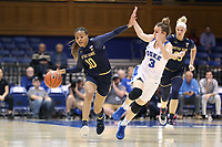 DURHAM, NC - JANUARY 16: Katlyn Gilbert #10 of Notre Dame University is fouled by Miela Goodchild #3 of Duke University during a game between Notre Dame and Duke at Cameron Indoor Stadium on January 16, 2020 in Durham, North Carolina.