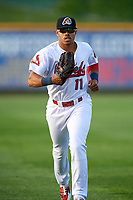 Peoria Chiefs center fielder Nick Plummer (11) jogs back to the dugout during a game against the West Michigan Whitecaps on May 9, 2017 at Dozer Park in Peoria, Illinois.  Peoria defeated West Michigan 3-1.  (Mike Janes/Four Seam Images)