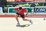 Wales Marc Wyatt in action during the semi-final of the Mens Pairs<br /> <br /> *This image must be credited to Ian Cook Sportingwales and can only be used in conjunction with this event only*<br /> <br /> 21st Commonwealth Games - Bowls -  Day 4 - 08\04\2018 - Boardbeach Bowls Club - Gold Coast City - Australia