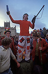 Haxey Hood Game. Haxey Lincolnshire 1970s. Smoking the Fool. Peter Bee as The Fool.