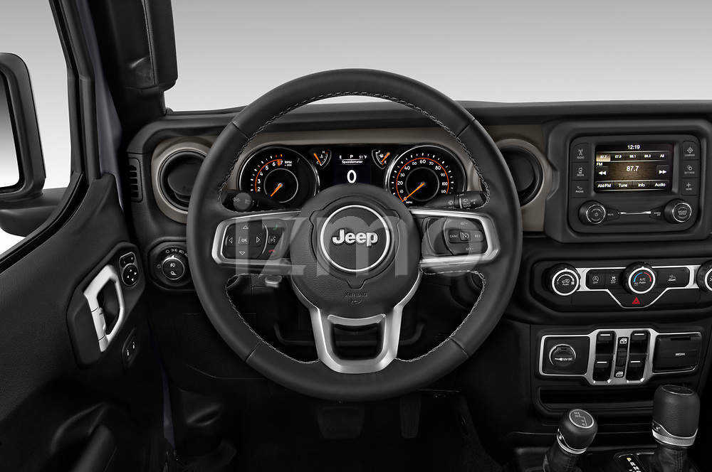 Car pictures of steering wheel view of a 2020 JEEP Gladiator Sport-S 4 Door Pick-up Steering Wheel