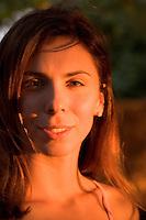 Attractive girl at sunset, Big Island of Hawaii