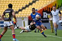 Jona Nareki of Otago is tackled during the Mitre 10 Cup - Wellington v Otago at Sky Stadium, Wellington, New Zealand on Saturday 10 October 2020. <br /> Photo by Masanori Udagawa. <br /> www.photowellington.photoshelter.com