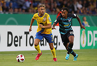 Ahmet Canbaz, Valentino Lazaro /   /        /      <br /> / Sport / Football / DFB Pokal 1.round 3. Bundesliga Bundesliga /  2018/2019 / 20.08.2018 / BTSV Eintracht Braunschweig vs. Hertha BSC Berlin / DFL regulations prohibit any use of photographs as image sequences and/or quasi-video. /<br />       <br />    <br />  *** Local Caption *** © pixathlon<br /> Contact: +49-40-22 63 02 60 , info@pixathlon.de