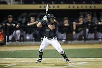 Chris Lanzilli (24) of the Wake Forest Demon Deacons at bat against the Virginia Cavaliers at David F. Couch Ballpark on May 18, 2018 in  Winston-Salem, North Carolina.  The Cavaliers defeated the Demon Deacons 15-3.  (Brian Westerholt/Four Seam Images)