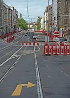 Baustelle Sperrung Georg-Schumann-Straße / Georg-Schuhmann-Straße / Schumannstraße / Schumi / Gohlis / Meckern / Wahren / Straßenbahn / Gleisbau. Foto: Norman Rembarz