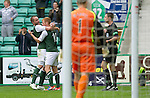 Hibs v St Johnstone...25.08.12   SPL.Eoin Doyle celebrates his goal with James McPake.Picture by Graeme Hart..Copyright Perthshire Picture Agency.Tel: 01738 623350  Mobile: 07990 594431
