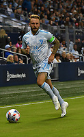 KANSAS CITY, KS - MAY 29: Johnny Russell #7 of Sporting KC dribbles up the right wing during a game between Houston Dynamo and Sporting Kansas City at Children's Mercy Park on May 29, 2021 in Kansas City, Kansas.