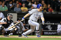 Toronto Blue Jays first baseman Adam Lind (26) at bat in front of cathce Tyler Flowers during a game against the Chicago White Sox on August 15, 2014 at U.S. Cellular Field in Chicago, Illinois.  Chicago defeated Toronto 11-5.  (Mike Janes/Four Seam Images)