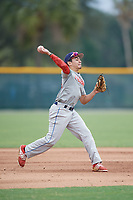 Jacob Aguirre (59), from Dallas, Texas, while playing for the Indians during the Baseball Factory Pirate City Christmas Camp & Tournament on December 29, 2017 at Pirate City in Bradenton, Florida.  (Mike Janes/Four Seam Images)