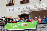 21st April 2021; Inst, Austria;  Cycling Tour des Alpes Stage 3,  Imst in Austria to Naturns/Naturno, Italy; School kids cheering on the riders in Imst