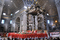 Pope Benedict XVI leads a solemn mass at St Peter's basilica to celebrate the feast of Saint Peter and Saint Paul on June 29, 2010 at The Vatican. Pope Benedict XVI placed palliums around the necks of 38 new archishops, a symbol of their authority and responsability