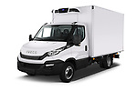 2018 Iveco Daily C 2 Door Refrigerated Van Angular Front automotive stock photos of front three quarter view