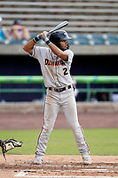 Shortstop Darell Hernaiz (2) of the Delmarva Shorebirds in a game against the Lynchburg Hillcats on Wednesday, August 11, 2021, at Bank of the James Stadium in Lynchburg, Virginia. (Tom Priddy/Four Seam Images)