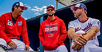 7 March 2019: Washington Nationals catcher Kurt Suzuki (left), pitcher Anibal Sanchez (center), and pitcher Max Scherzer (right) chat in the dugout during a game against the New York Mets at the Ballpark of the Palm Beaches in West Palm Beach, Florida. The Nationals defeated the visiting Mets 6-4 in Grapefruit League, pre-season play. Mandatory Credit: Ed Wolfstein Photo *** RAW (NEF) Image File Available ***