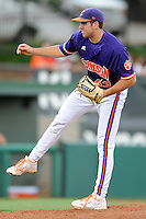 Pitcher Patrick Andrews #43 delivers a pitch during a  game against the Miami Hurricanes at Doug Kingsmore Stadium on March 31, 2012 in Clemson, South Carolina. The Tigers won the game 3-1. (Tony Farlow/Four Seam Images).