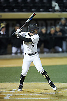 Jake Mueller (6) of the Wake Forest Demon Deacons at bat against the Florida State Seminoles at David F. Couch Ballpark on March 9, 2018 in  Winston-Salem, North Carolina.  The Seminoles defeated the Demon Deacons 7-3.  (Brian Westerholt/Four Seam Images)