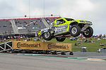 Super Trucks in action during the Super truck practice round at the Circuit of the Americas racetrack in Austin,Texas.