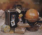 Interlitho, Alberto, STILL LIFES,  photos, globe, suitcase, books, KL16324,#I# Männer, masculino, hombres