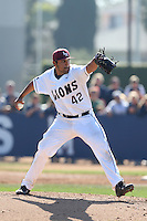 Carlos Fuentes #42 of the Loyola Marymount Lions pitches against the Oregon Ducks at Page Stadium on February 23, 2014 in Los Angeles, California. Oregon defeated Loyola, 4-3. (Larry Goren/Four Seam Images)