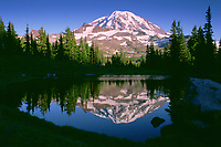 Mt. Rainier Reflected in Tarn at Spray Park, Mt. Rainier National Park, Washington, US