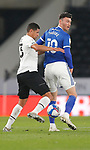 28.10.20 - Derby County v Cardiff City - Sky Bet Championship - Kieffer Moore of Cardiff and Curtis Davies of Derby