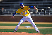 Delaware Blue Hens starting pitcher Adam Davis (32) in action against the Georgetown Hoyas at Wake Forest Baseball Park on February 13, 2015 in Winston-Salem, North Carolina.  The Blue Hens defeated the Hoyas 3-0.  (Brian Westerholt/Four Seam Images)