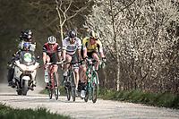 the race leaders rolling over the Plugstreets:<br /> Peter SAGAN (SVN/BORA-Hansgrohe), Edward Theuns (BEL/Trek Segafredo), Matteo TRENTIN (ITA/Mitchelton-Scott) & Mike Teunissen (NED/Jumbo-Visma)<br /> <br /> 82nd Gent – Wevelgem in Flanders Fields 2019 (1.UWT)<br /> Deinze – Wevelgem: 251,5km<br /> ©kramon