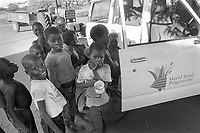 - Mozambique 1993, column of humanitarian aid of the World Food Program on the road towards the village of Inhaminga, Sofala province, occupied by anti-government rebels of Renamo<br />