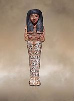 Ancient Egyptian shabtis doll, New Kingdom,. Egyptian Museum, Turin. Grey background.