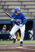 Indiana State Sycamores outfielder CJ Huntley (21) squares to bunt against the Michigan Wolverines on April 10, 2019 in the NCAA baseball game at Ray Fisher Stadium in Ann Arbor, Michigan. Michigan defeated Indiana State 6-4. (Andrew Woolley/Four Seam Images)