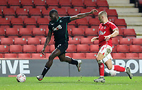 Frank Nouble of Plymouth Argyle shot saved by Ashley Maynard-Brewer of Charlton Athletic during Charlton Athletic vs Plymouth Argyle, Emirates FA Cup Football at The Valley on 7th November 2020