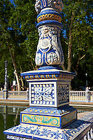 Tiled  lamp column of the Plaza de Espana in Seville built in 1928 for the Ibero-American Exposition of 1929, Seville Spain