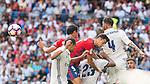 Real Madrid's player Pepe, Danilo Luiz Da Silva and Sergio Ramos and Osasuna's player Oriol Riera during a match of La Liga Santander at Santiago Bernabeu Stadium in Madrid. September 10, Spain. 2016. (ALTERPHOTOS/BorjaB.Hojas)