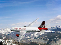 aerial photograph of N628VA, Virgin America Airlines Airbus A320-214, over Sierra Mountain Range, California