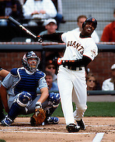Barry Bonds hits home run number 73 for the year during the Los Angeles Dodgers @ San Francisco Giants game in San Francisco, CA on October 6, 2001.<br />