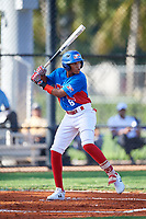 Raymond Mola (8) during the Dominican Prospect League Elite Florida Event at Pompano Beach Baseball Park on October 14, 2019 in Pompano beach, Florida.  (Mike Janes/Four Seam Images)