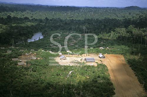 Xingu, Para state, Ipixuna Village, Brazil. Aerial view of the village and the landing strip; Arawete Indians.