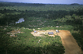 Xingu, Para state, Ipixuna Village, Brazil. Aerial view of the village and the landing strip; Arawete Indians.