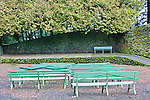 Outdoor Theater, Mt. Tabor Park, Portland, Oregon.  Stone walls, wooden benches, stage, public, winter, evergreen, public, Portland Parks and Recreation, popular, tourism, moss, lichen, cedar trees, seating, events, venue.