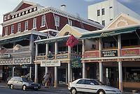 Bermuda, Hamilton, Shops along Front Street in the town of Hamilton in Bermuda.